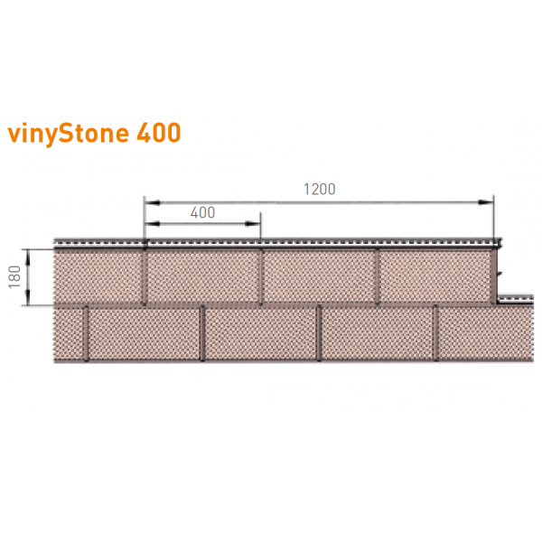 Visuel Bardage PVC Vinystone® 400 Aspect Pierre Toscana - 6 x 1.20 ml