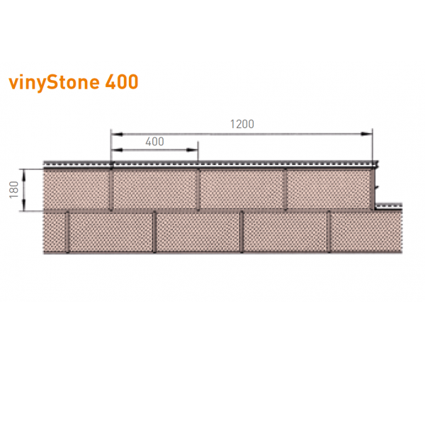 Visuel Bardage PVC Vinystone® 400 Aspect Pierre Rhodos - 6 x 1.20 ml