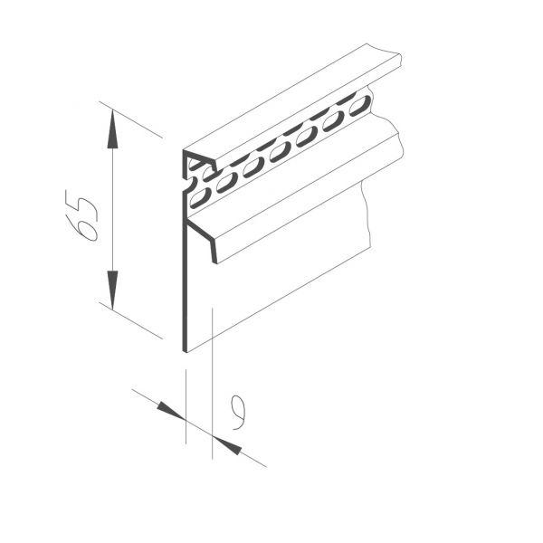 Visuel Profil de Ventilation Vinystone® 6 x 65 mm Blanc