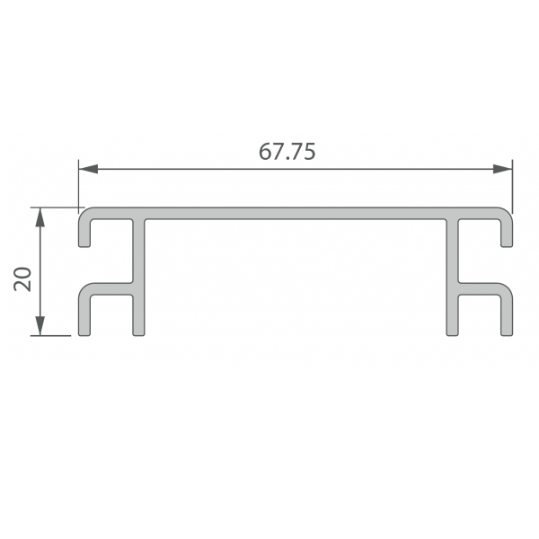 Visuel Profil de Ventilation 67,75 x 20 mm Anodisé Brun