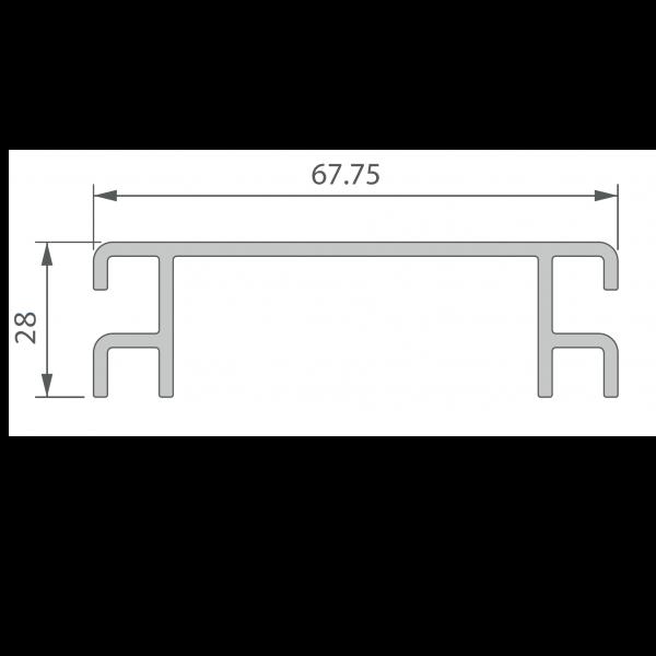 Visuel Profil de Ventilation 67,75 x 28 mm Anodisé Brun