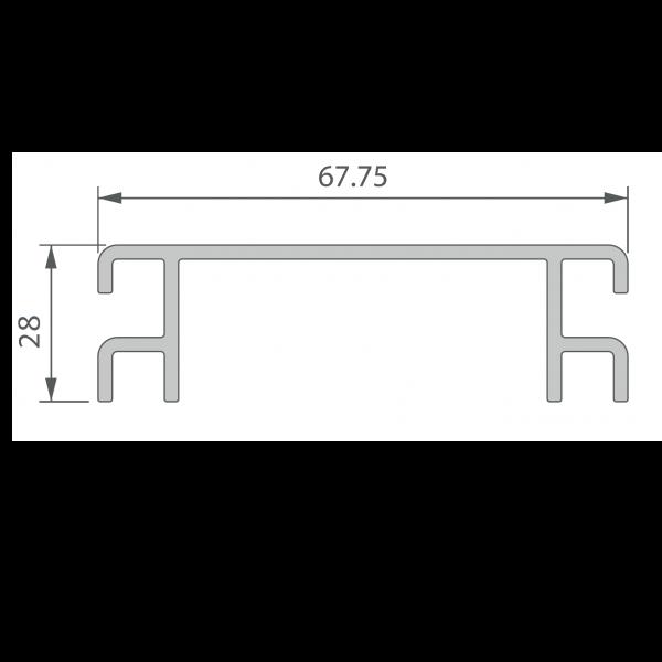 Visuel Profil de Ventilation 67,75 x 28 mm Noir