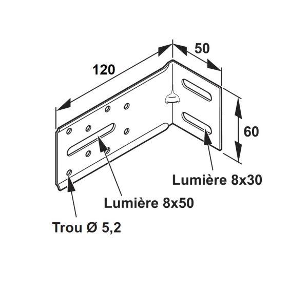 Visuel Équerre de fixation pour Tasseau 50 x 120 mm - 100 pièces