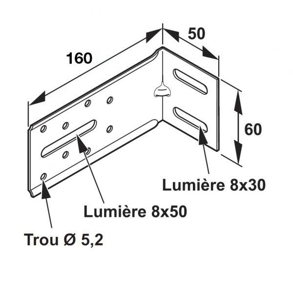 Visuel Équerre de fixation pour Tasseau 50 x 160 mm - 100 pièces