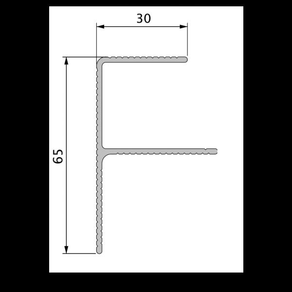 Visuel Profil de Finition Alu en F 40 x 65 mm Twinson® Anodisé Argent