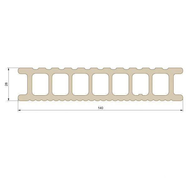 Visuel Lame de Terrasse Essentielle Alvéolaire Twinson® 4000 x 140 x 28 mm Gris ardoise