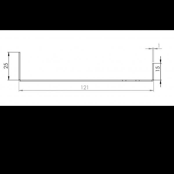 Visuel Tôle Départ Alu Ventilée prof. 121 mm Tasseaux 27 mm RAL 7022