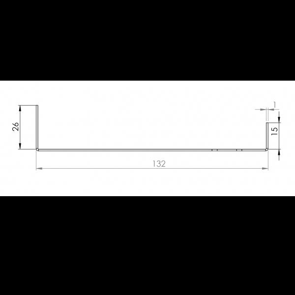 Visuel Tôle Départ Alu Ventilée prof. 132 mm Tasseaux 40 mm RAL 3004
