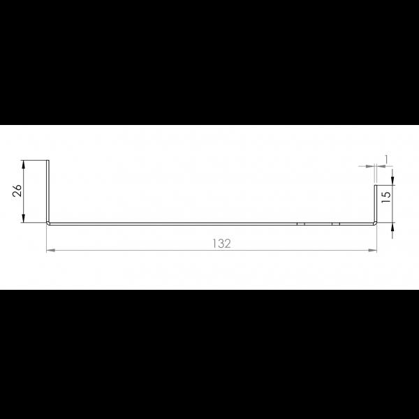 Visuel Tôle Départ Alu Ventilée prof. 132 mm Tasseaux 40 mm RAL 7032