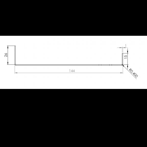 Visuel Tôle Départ Alu Ventilée prof. 144 mm Tasseaux 50 mm RAL 7022