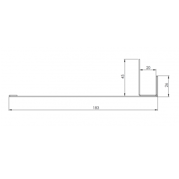 Visuel Tôle Ébrasement Alu prof. 180 mm RAL 7022