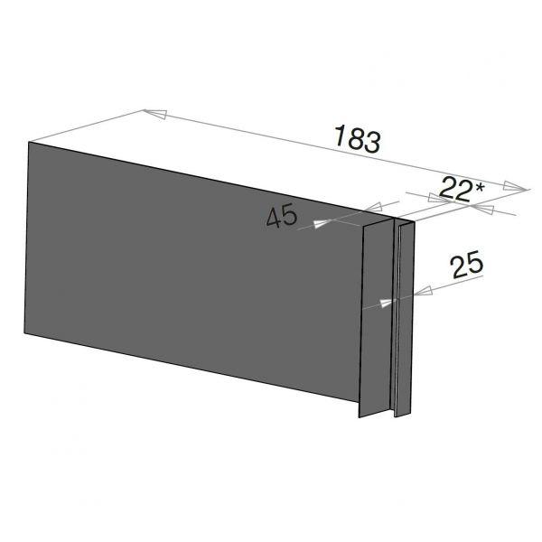 Visuel Tôle Ébrasement Alu prof. 180 mm Bardage ép. 22 mm RAL 7022