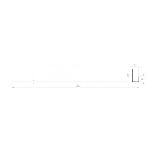 Visuel Tôle Ébrasement Alu prof. 300 mm Bardage ép. 22 mm RAL 3011