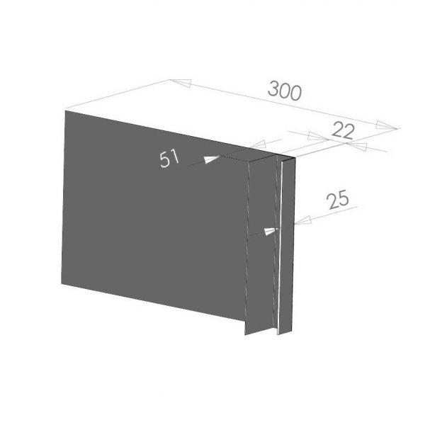 Visuel Tôle Ébrasement Alu prof. 300 mm Bardage ép. 22 mm RAL 7022