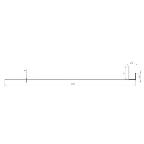 Visuel Tôle Ébrasement Alu prof. 300 mm Bardage ép. 22 mm RAL 7030