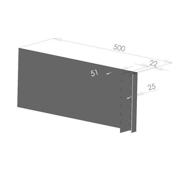 Visuel Tôle Ébrasement Alu prof. 500 mm Bardage ép. 22 mm RAL 7022