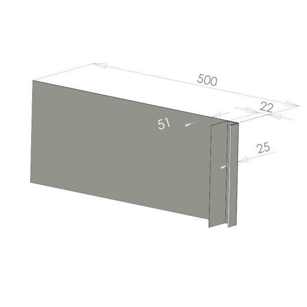 Visuel Tôle Ébrasement Alu prof. 500 mm Bardage ép. 22 mm RAL 7030