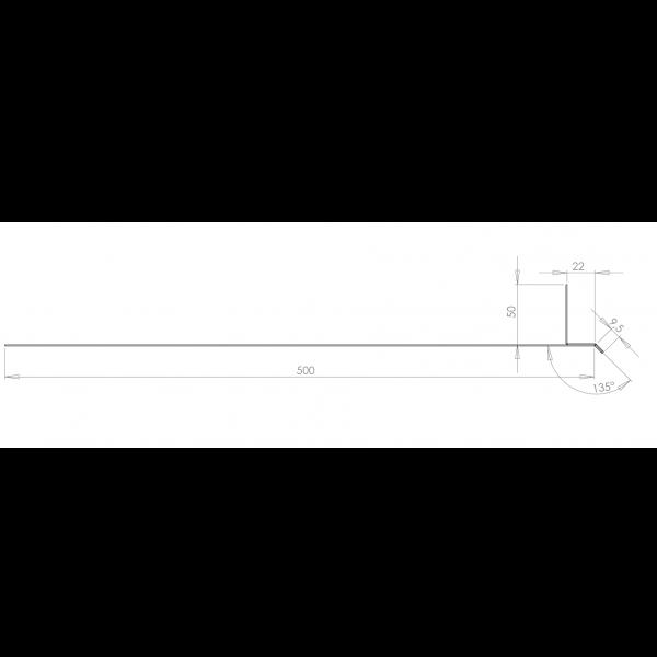 Visuel Tôle Linteau Alu Ventilée 22 mm RAL 7022