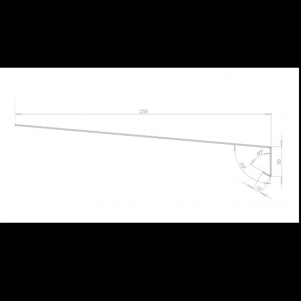 Visuel Tôle Rive Ajustable Alu prof. 250 mm RAL 3011