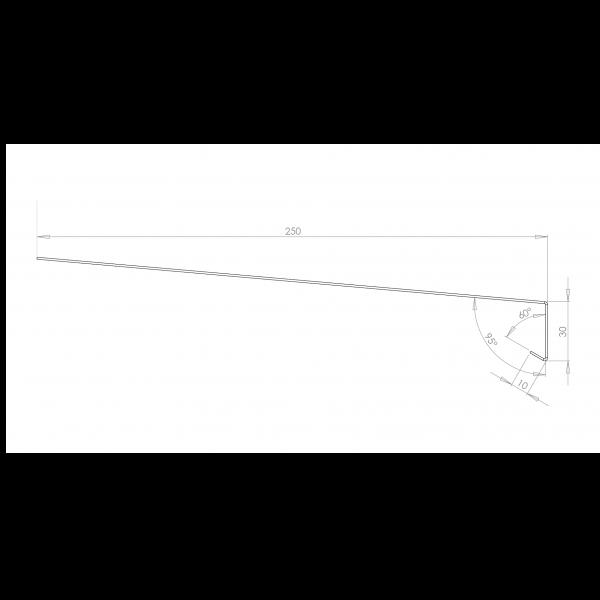 Visuel Tôle Rive Ajustable Alu prof. 250 mm RAL 7022