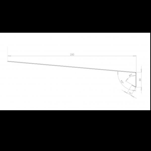 Visuel Tôle Rive Ajustable Alu prof. 250 mm RAL 7030