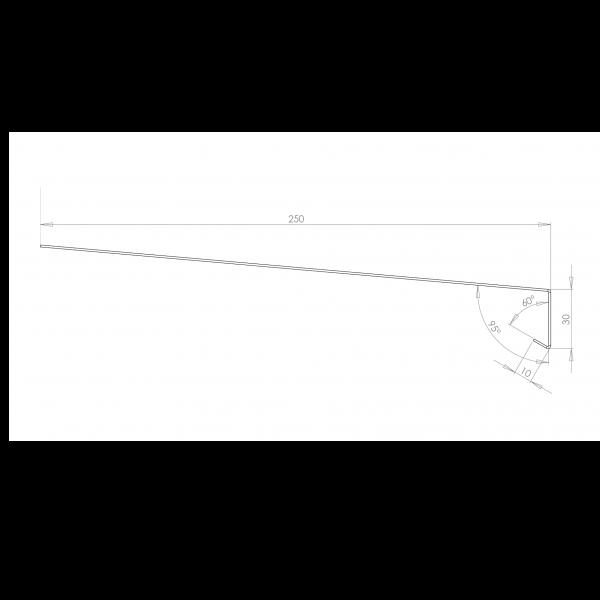 Visuel Tôle Rive Ajustable Alu prof. 250 mm RAL 7032