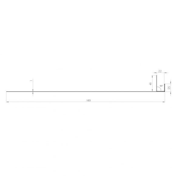 Visuel Tôle Ébrasement Alu prof. 180 mm Bardage ép. 22 mm RAL 7032