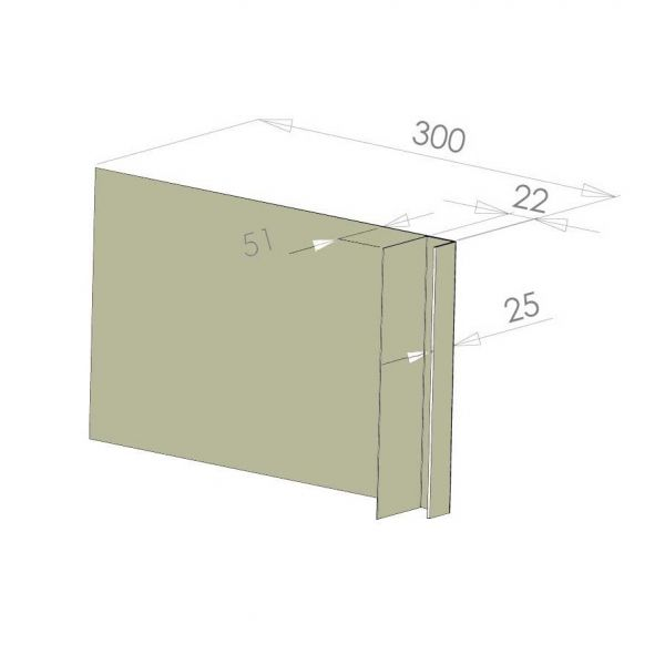 Visuel Tôle Ébrasement Alu prof. 300 mm Bardage ép. 22 mm RAL 7032