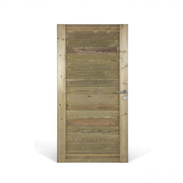 Visuel Porte bois Misto Pin rouge du Nord imprégné vert 195 x 99 cm classe A4+