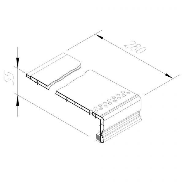 Visuel Encadrement linteaux perforé Vinycom 280 x 55 mm Blanc - 6 x 6 ml