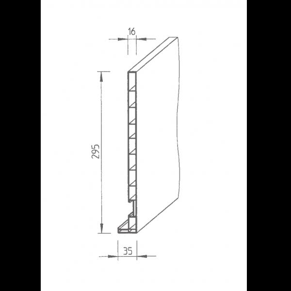 Visuel Planche de rive Vinyplus DRP finition bois 295 x 16 mm Chêne doré - 2 x 6 ml