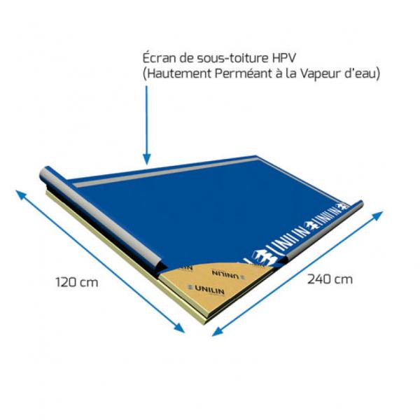 Visuel Panneau rigide avec écran de sous toiture HPV 2400 x 1200 x 120 mm - 1 pièce = 2.88 m²