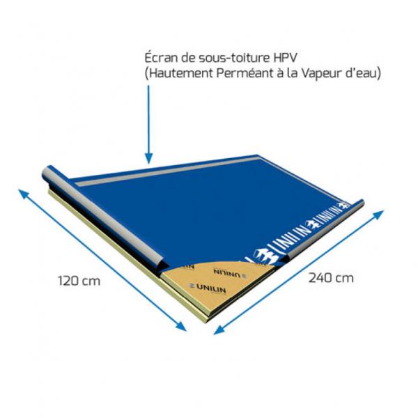 Visuel Panneau rigide avec écran de sous toiture HPV 2400 x 1200 x 60 mm - 1 pièce = 2.88 m²