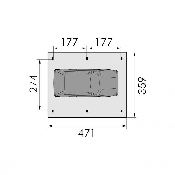 Visuel Carport à Toit plat Polycarbonate 471 x 274 cm Pin Rouge Autoclave Vert