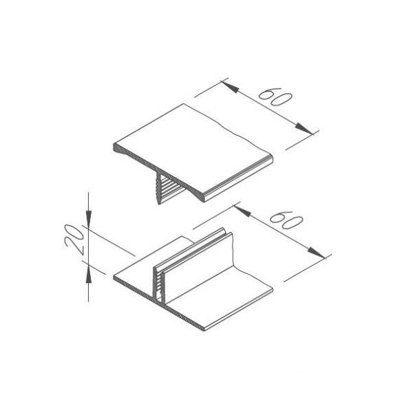 Visuel Jonction H en 2 parties Acier corten pour Vinyplus Shadow