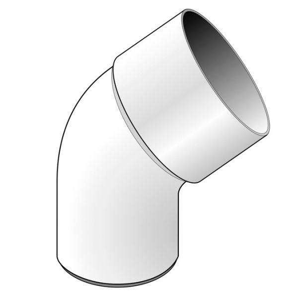 Visuel Coude 45° diam. 80 mm Blanc