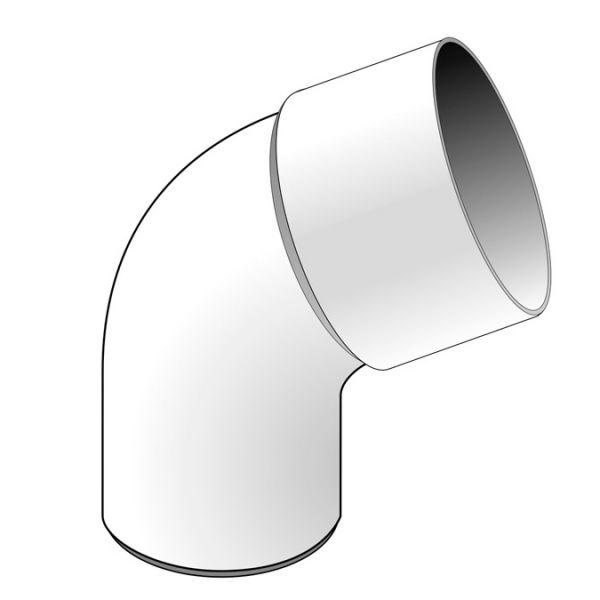 Visuel Coude 67.30° diam. 80 mm Blanc