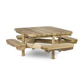 Table de Pique nique Pin Rouge Octo® Vert 138 x 138 cm