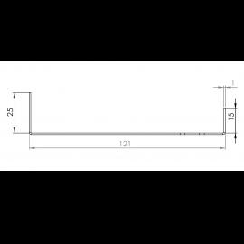 Tôle Départ Alu Ventilée prof. 121 mm Tasseaux 27 mm RAL 1013