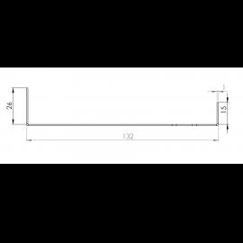 Tôle Départ Alu Ventilée prof. 132 mm Tasseaux 40 mm RAL 7040