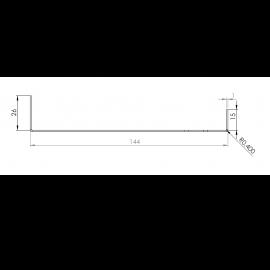 Tôle Départ Alu Ventilée prof. 144 mm Tasseaux 50 mm RAL 1013