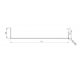 Tôle Départ Alu Ventilée prof. 144 mm Tasseaux 50 mm RAL 8008