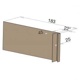 Tôle Ébrasement Alu prof. 180 mm Bardage ép. 22 mm RAL 1019
