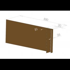 Tôle Ébrasement Alu prof. 500 mm Bardage ép. 20 mm RAL 8008