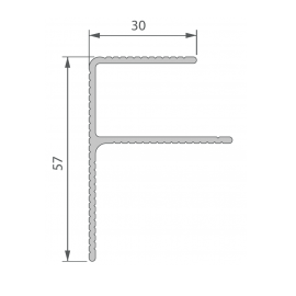 Profil de Finition Alu en F 40 x 57 mm Anodisé Argent