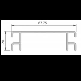 Profil de Ventilation 67,75 x 20 mm Anodisé Argent