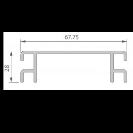 Profil de Ventilation 67,75 x 28 mm Anodisé Argent