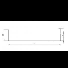 Tôle Départ Alu Ventilée prof. 121 mm Tasseaux 27 mm RAL 7016