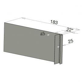 Tôle Ébrasement Alu prof. 180 mm Bardage ép. 22 mm RAL 7030