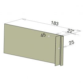 Tôle Ébrasement Alu prof. 180 mm Bardage ép. 22 mm RAL 7032